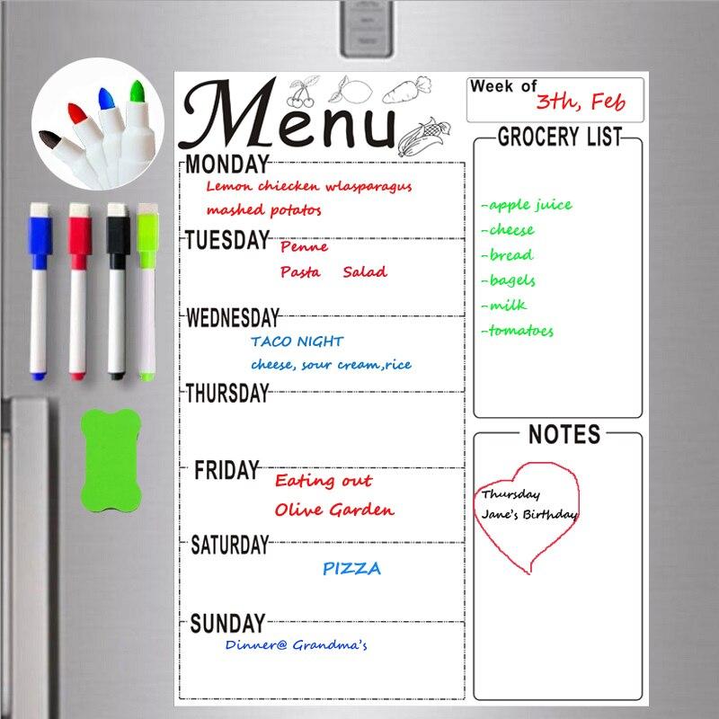А4 магнитная доска еженедельник меню еды продуктовый список сделать список холодильник маркер стикер Ручка Расписание стереть доска технология