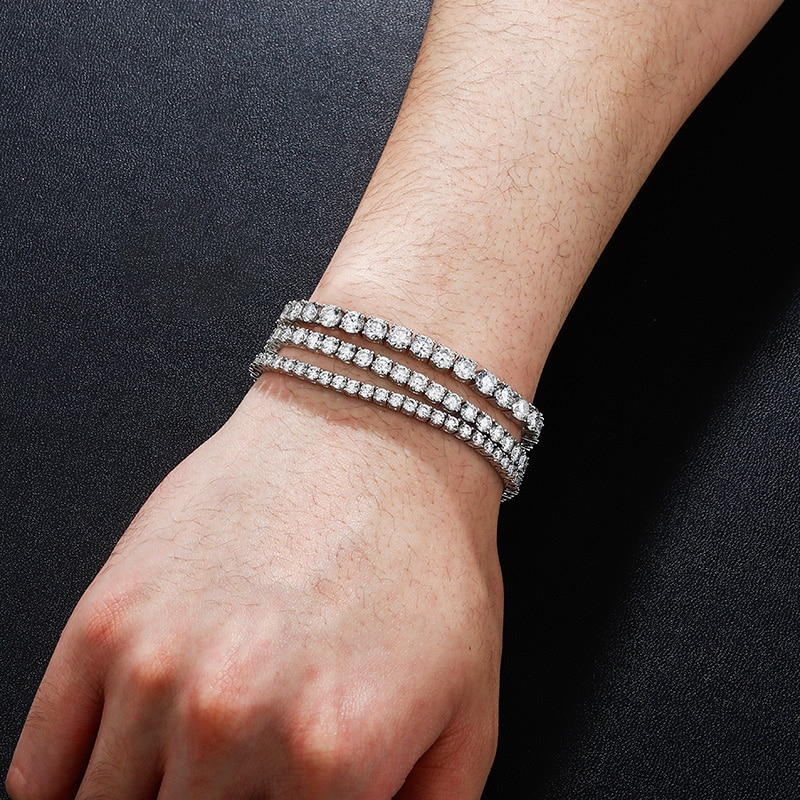 JINAO 925 Silver Bracelets On Hand 3mm 4mm 5mm High Quality  Personality Iced Out Moissanite Bracelet Men and Women Jewelry