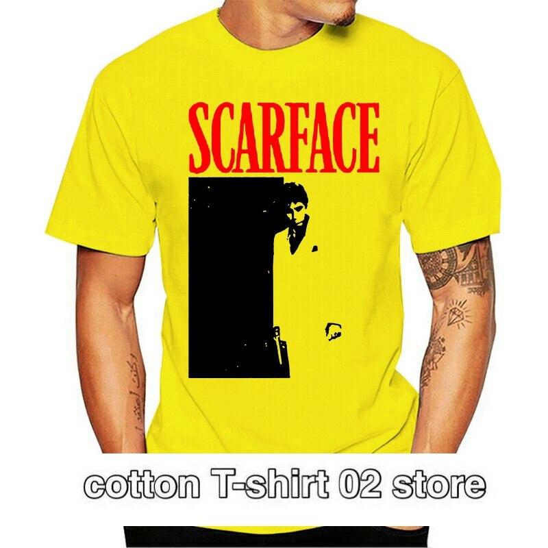 Camiseta de manga corta para hombre de SCARFACE blanco negro y rojo