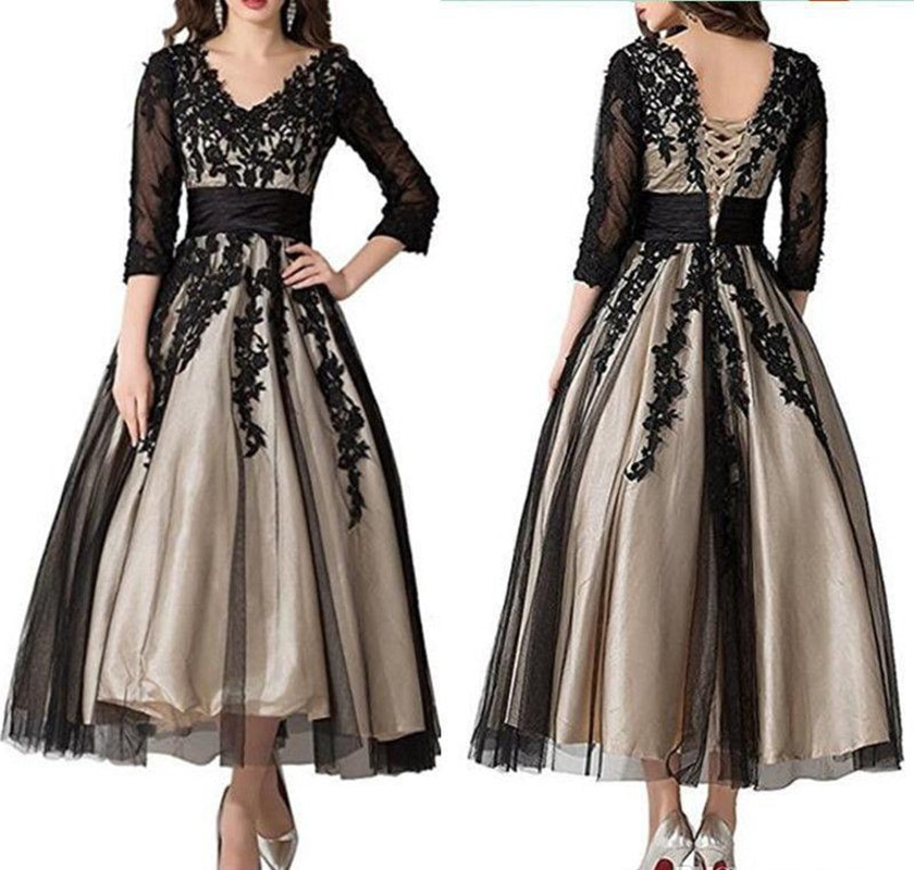 Plus Size New 3/4 Sleeve Black Lace Mother of the Bride Dress Ankle Length V Neck Wedding Party Gown