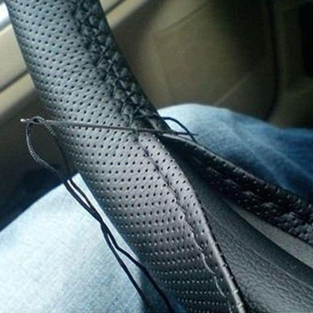 3 cor diy textura macia cobertura de volante do carro automóvel com agulhas e linha couro artificial estilo do carro cobre suíte