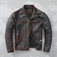 2021 vintage brown motorcycle style genuine leather jacket men plus size 5xl real natural cowhide autumn slim fit bikers coat