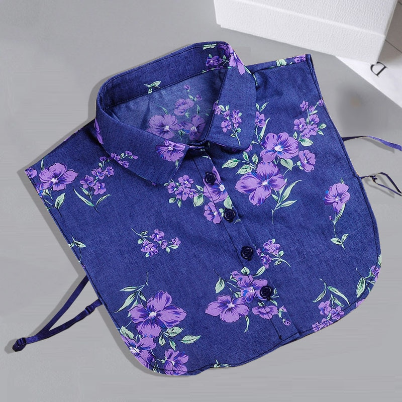 Collares desmontables de tela vaquera para mujeres, corbata Vintage con estampado de flores, cuello falso para señora, cuello falso de camisa, solapa, blusa, Top para mujeres