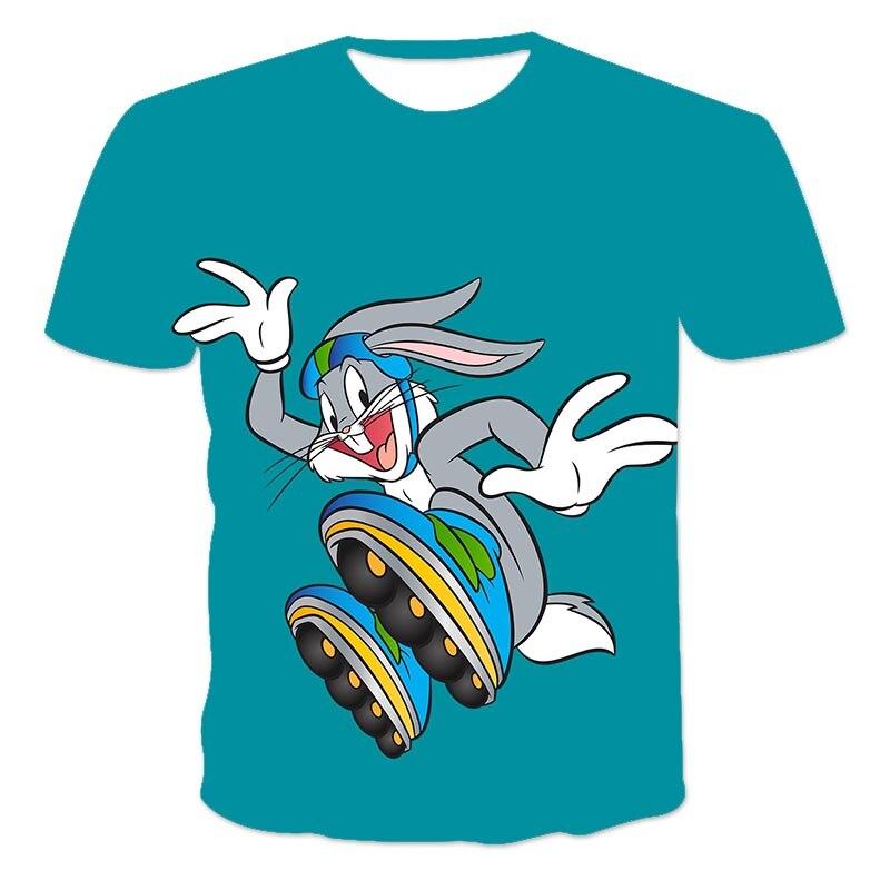 Summer Short Sleeve T-Shirt Casual ChildrenS Rabbit Street Headwind Kawai Cartoon 3D Harajuku Printed