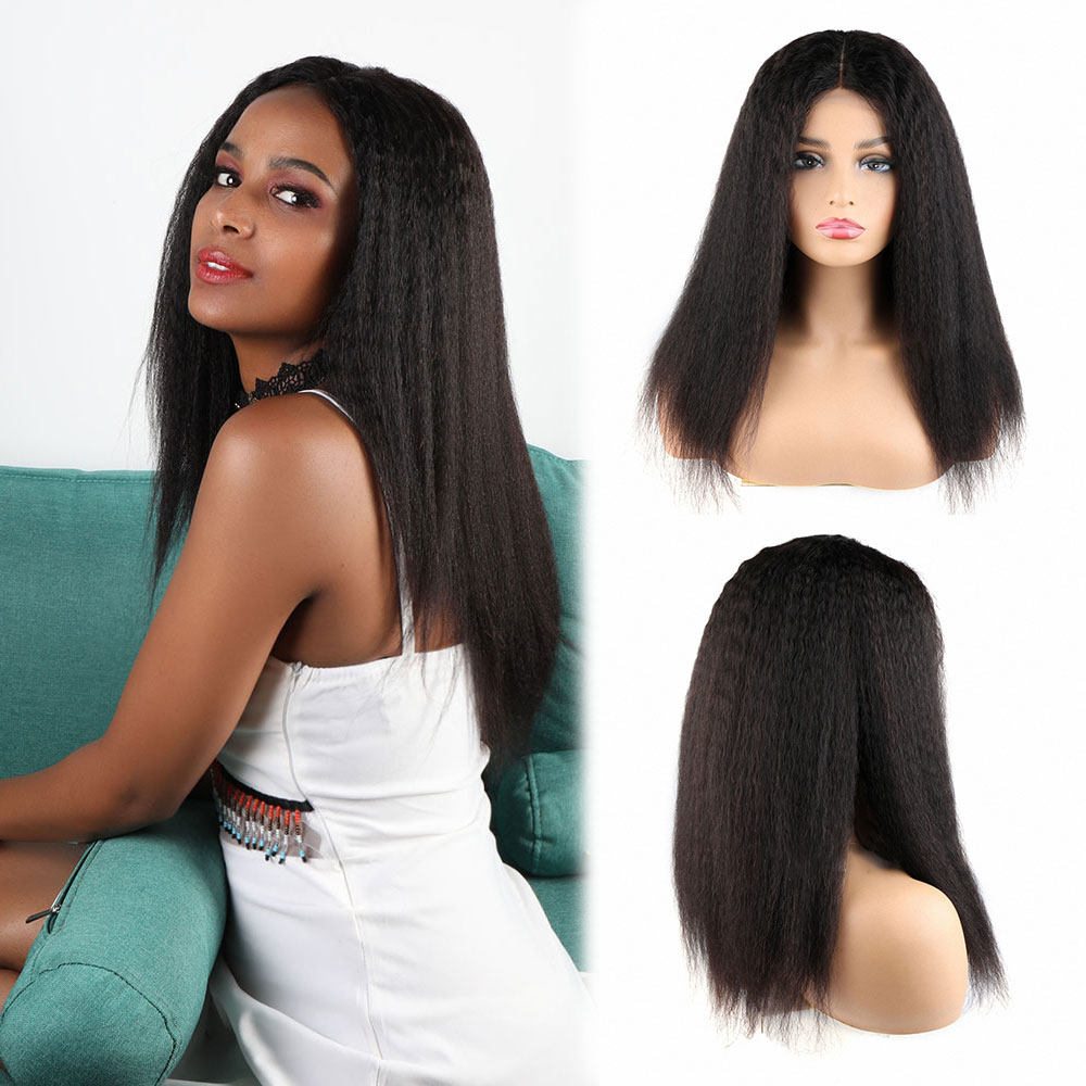 Toocci Afro Kinky Straight Wig Virgin Brazilian Human Hair Wig 4x4 Lace Closure Yaki Bob Wig Wholesale