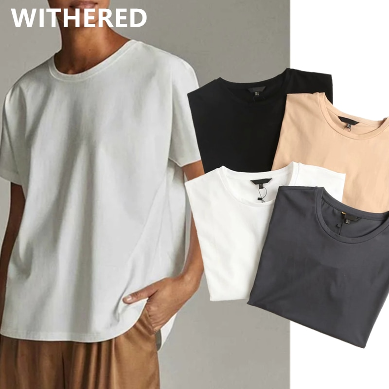 Withered Summer T shirt Women England Style Simple Solid O-Neck Cotton Match Basic Harajuku Tshirt Camisetas Verano Mujer 2021