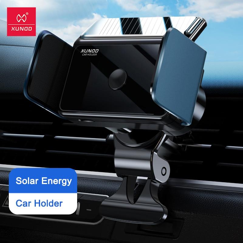 حامل سيارة عالمي آيفون شاومي سامسونج ، XUNDD سيارة منفذ الهواء جبل الذكية السيارات حامل هاتف المحمول-دعم الشحن بالطاقة الشمسية