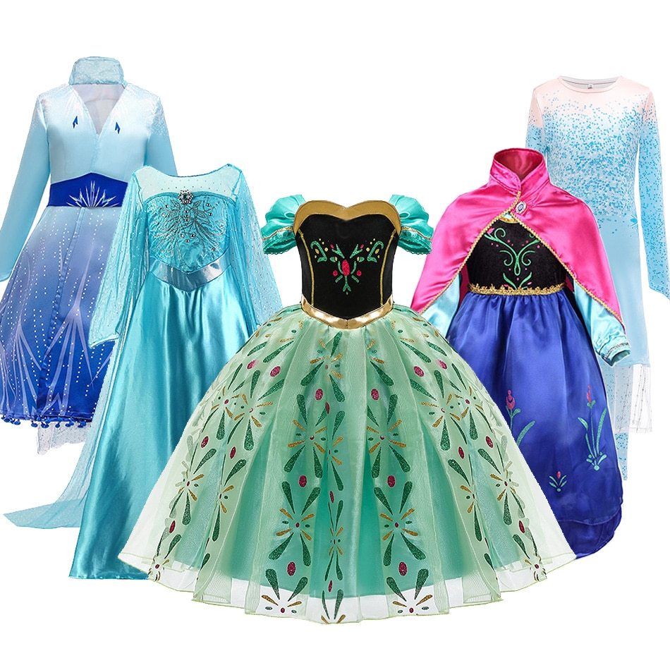 elsa gril kids fall outfits pyjama enfant anna princess birthday party roupas infantis menina halloween cosplay children clothes Snow Queen 2 NEW Elsa Anna Dress for Girls Halloween Fancy Clothes Children Birthday Party Cosplay Princess Costume Outfits Wig