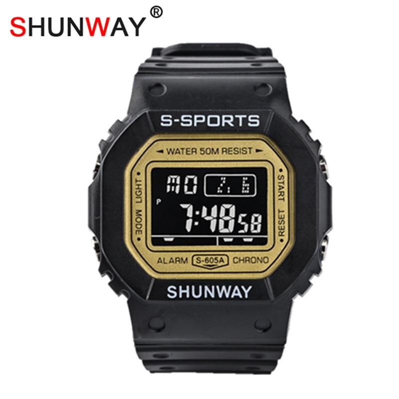 Children Digital Multifunction Sports Watches IP68 Waterproof Silicone Rubber Fashion Boys Girls Wristband Kids Clock Gift 605A