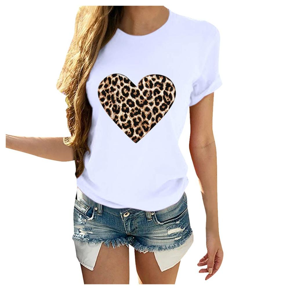Plus Größe Frauen T-Shirt 2020 Sommer Leopard Herz Druck T Shirt Frauen Casual Weiß Tops Lose Kurzarm T-shirt Camisas mujer