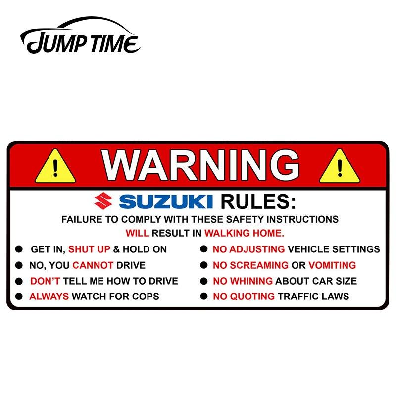 JumpTime 13cm x 5.8cm For SUZUKI Jimny Swift Vitara Samurai Baleno WARNING RULES Car Stickers Vinyl Decal Car Window Car Styling