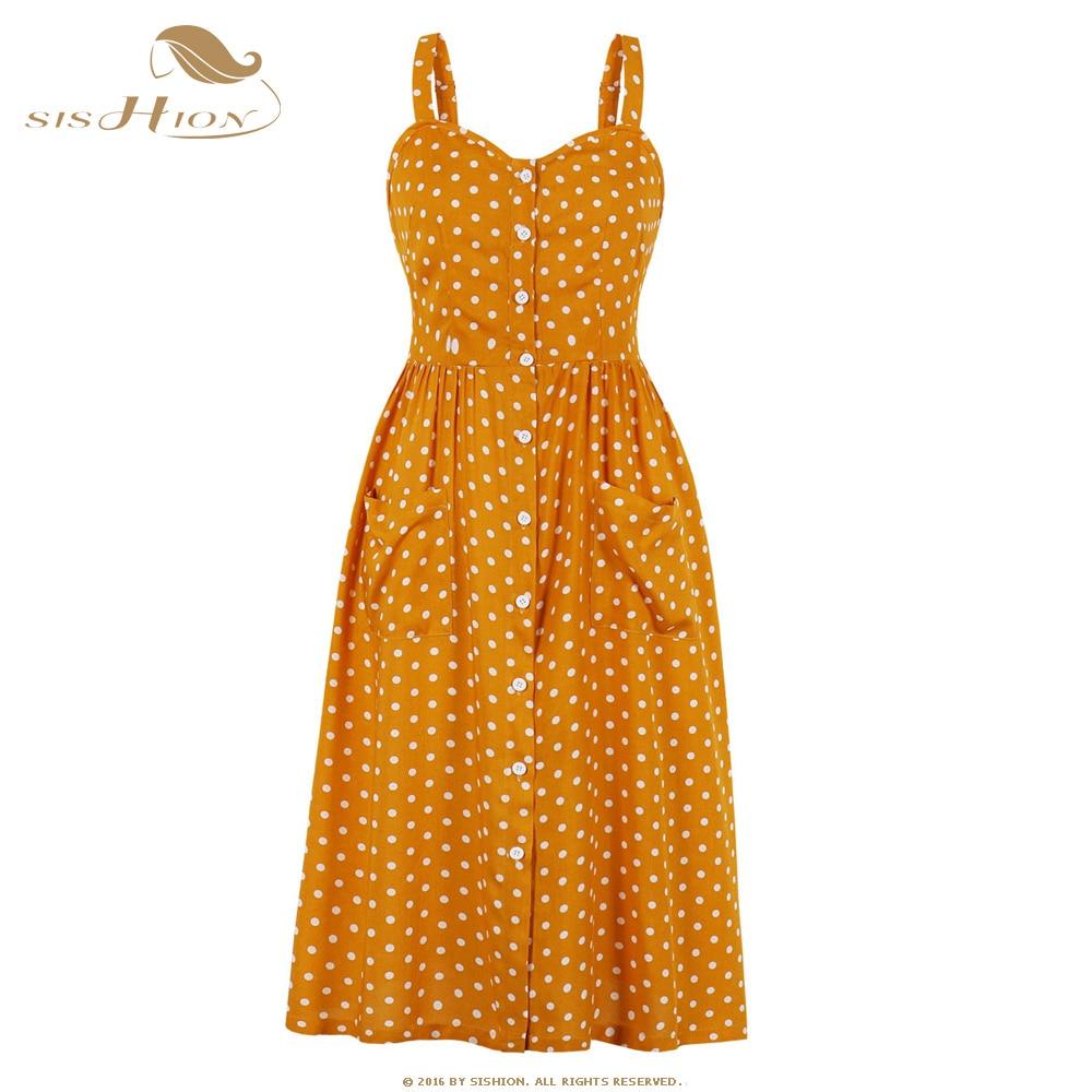 SISHION 100% algodón Polk dot imprimir vestido Vintage estilo Swing SP1097 mujeres Sexy vestido pin up con bolsillo 50s vestidos