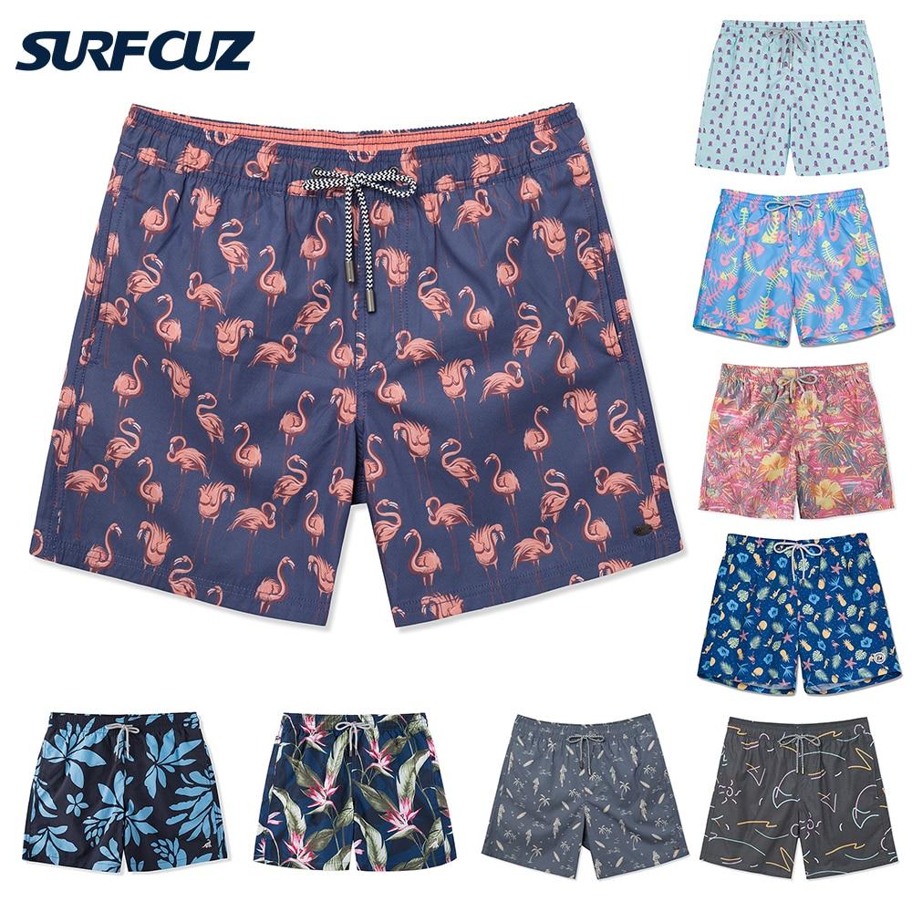 SURFCUZ New Mens Swim Trunks Quick Dry Summer Beach Swim Board Shorts Fashion Swimwear Trunks with Mesh Lining Volley Shorts