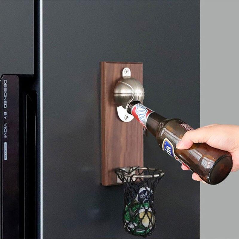 Abridor de garrafa de tiro de basquete com bolso fixado na parede decoração da casa pode vinho abridor de cerveja ímã cozinha gadget bar festa suprimentos
