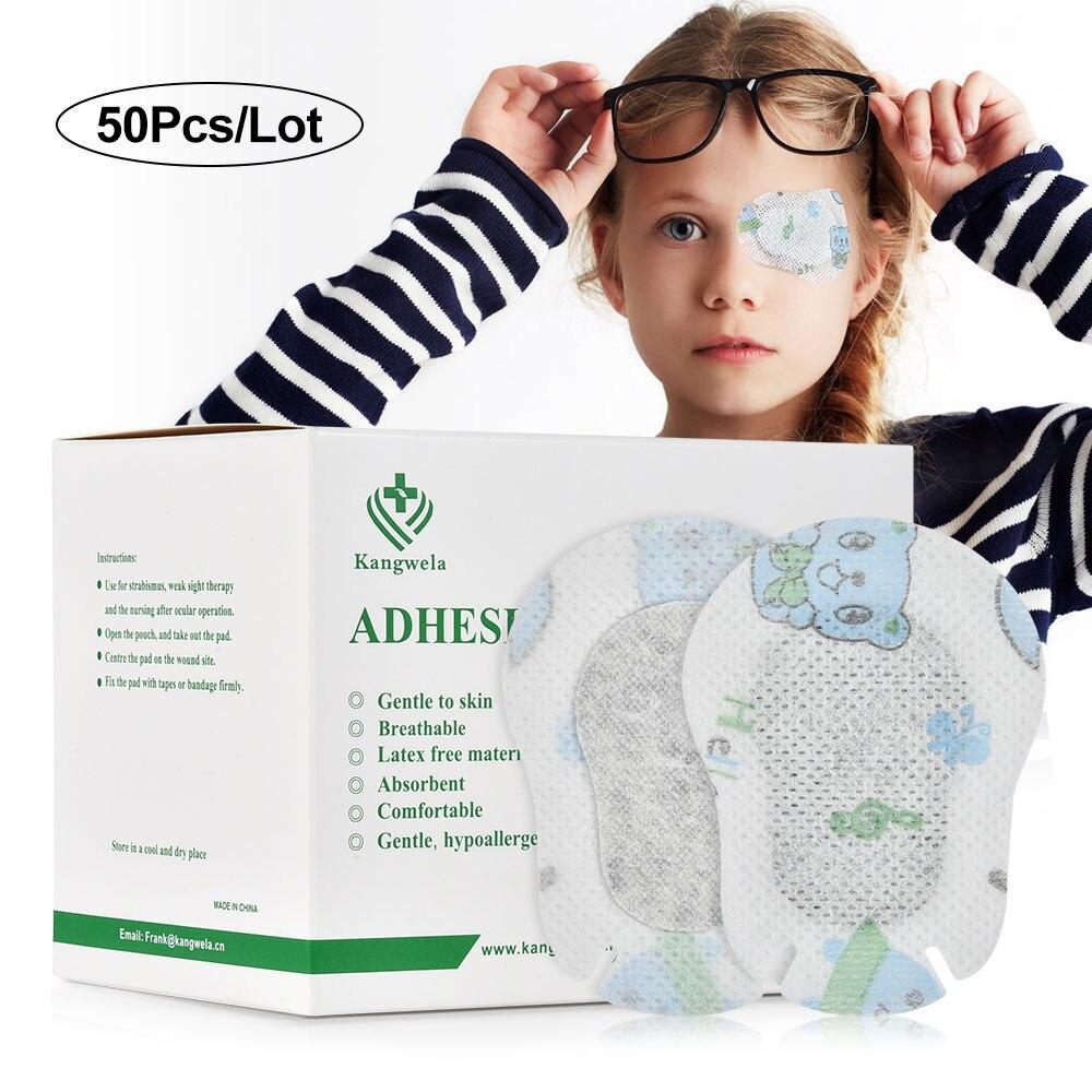 50 pçs/caixa remendos de olho dos desenhos animados ambliopia crianças descartáveis máscara de olho médica colorido criança ambliopia treinamento eyeshade