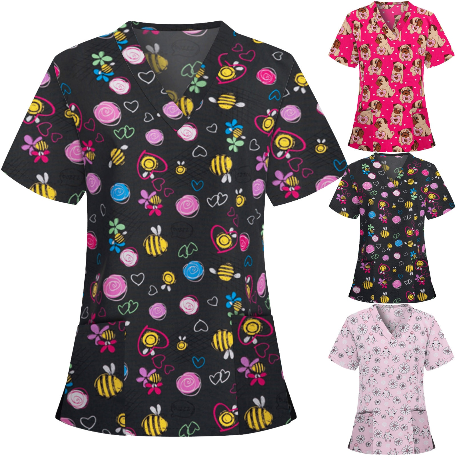 Ladies Animal Print Casual Short-Sleeved V-neck Care Work Tops 2021 Summer Plus Size Sexy Nurse Unif