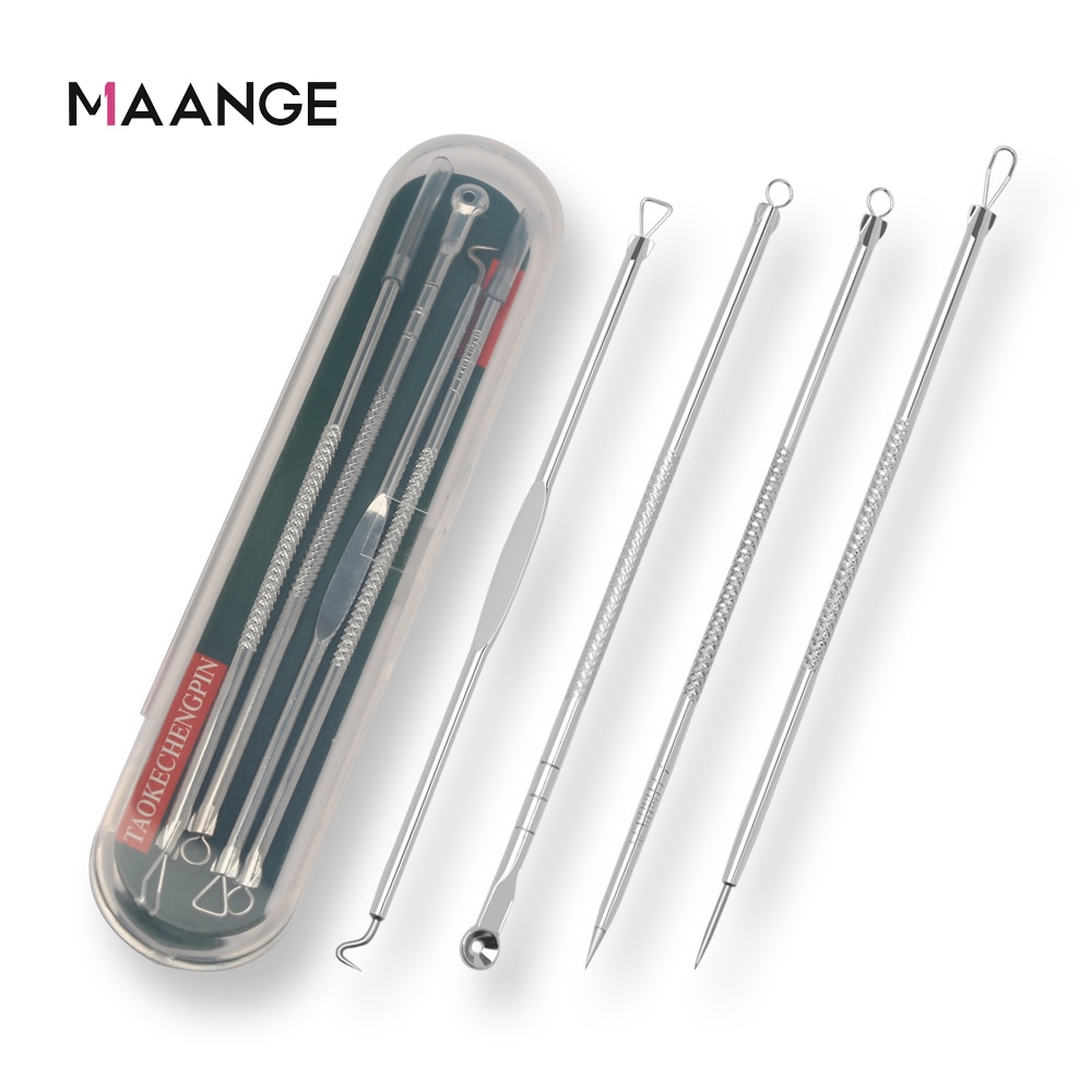 maange-4pc-set-stainless-steel-blackhead-removal-kit-acne-blemish-pimple-extractor-remover-needles-cosmetic-face-cleaning-tool