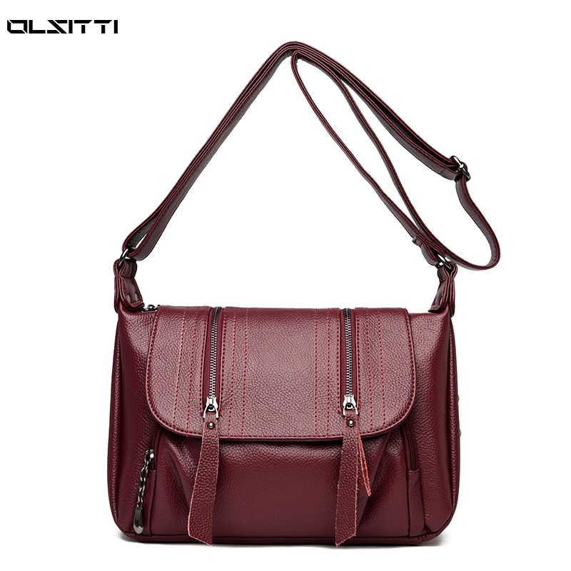 High capacity Women Messenger Bag High Quality Soft Leather Crossbody Shoulder Bags For Women Multi-