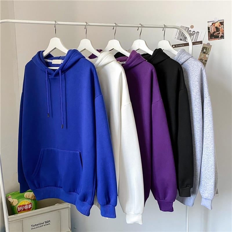 Autumn and Winter Hong Kong Ins Velvet Padded Hooded Sweatshirt Men's Korean Style Trendy Solid Colo