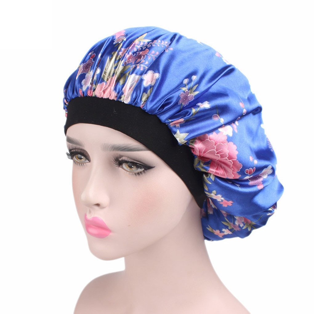 Unisex Adults Satin Hair cap Nightcap Wide-brimmed Floral Sleeping Cap shower cap silk bathing hats