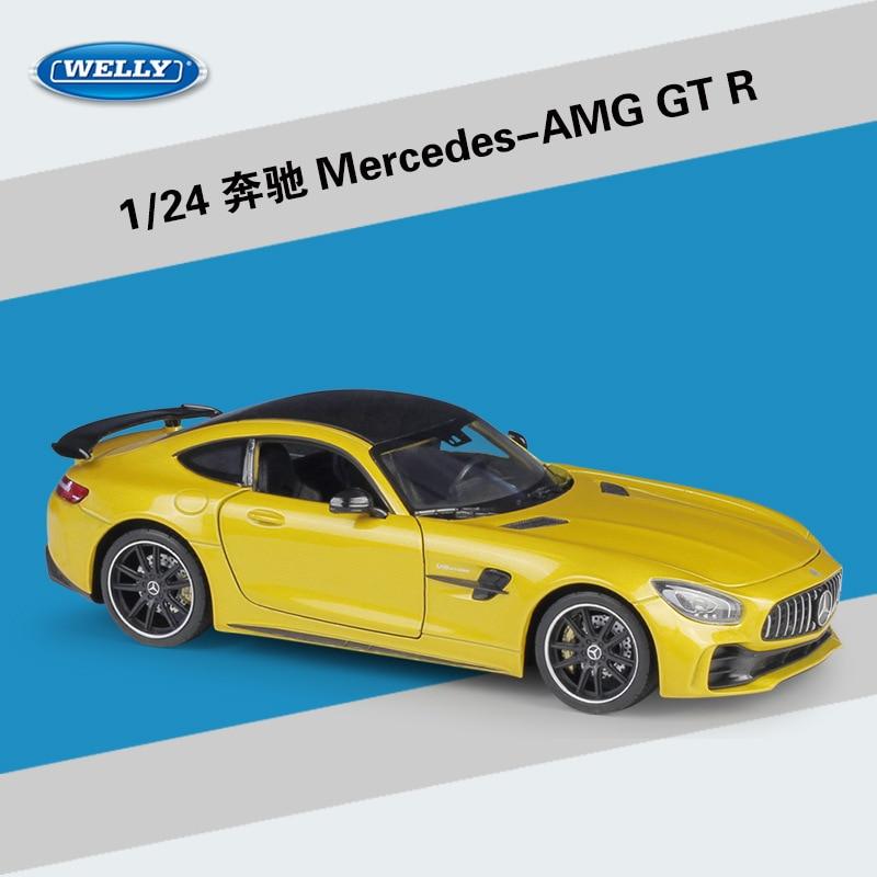 Welly, escala 124, juguetes de coche de carreras de aleación fundido a escala para Mercedes Benz AMG GTR, juguete del coche deportivo de Metal con caja Original para niños