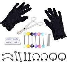 16 Uds herramientas de perforación corporales profesional Kit de herramientas para piercings estéril Anillo del cuerpo del vientre aguja de cartílago herramientas joyería del cuerpo