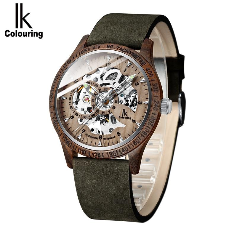 Reloj de madera mecánico de colores IK erkek kol saati reloj de madera de lujo elegante cronógrafo militar en caja de regalo de madera