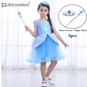 Dress+Accessories 2 pcs Summer Girls Princess Short Dress Kids Fantasy Girls Dress Snow White Short Clothing Vestido 2 5 6 Year