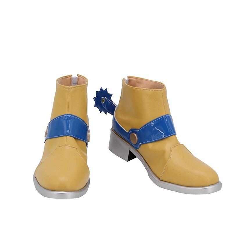 أحذية تأثيري أنيمي غريب مغامرة SBR جوليوس · قيصر · Zeppeli كعب متوسط أحذية من الجلد الصغيرة نمط رعاة البقر