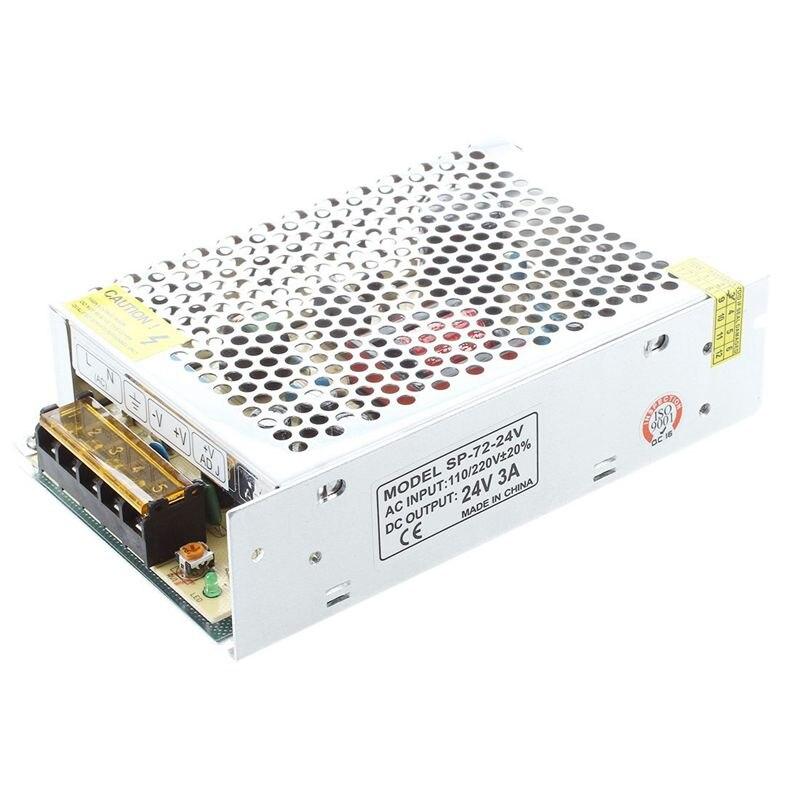 AC 110/220V 24VDC 3A 72W Power Supply Transformer for LED Flexible Strip Lamp