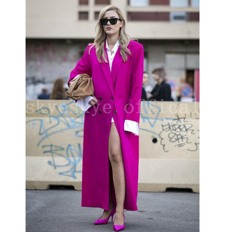 cutom made women casual solid outwear fashion office wear long coat women coat balzer windbreaker La