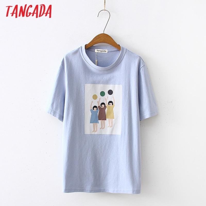Camiseta Tangada de algodón con estampado bonito para mujer, camiseta informal de manga corta con cuello redondo para mujer, ropa de calle, top BAO19