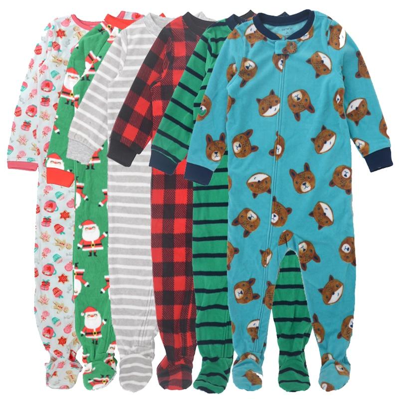 Купить с кэшбэком Children carte boys and girls fleece Siamese climbing clothing with foot warm pajamas baby leotard Romper bag fart long climb