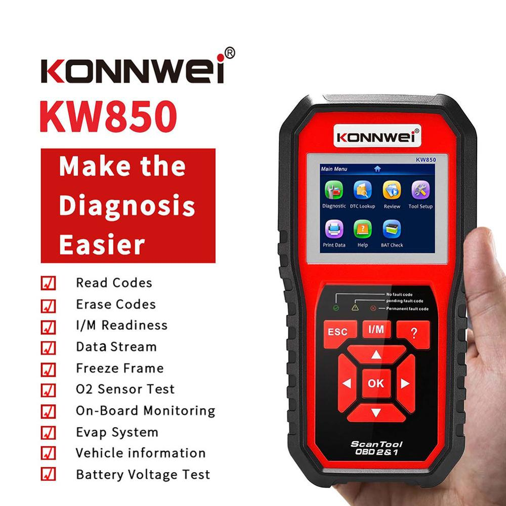 KONNWEI KW850 OBD2 Scanner Universal Auto Diagnostic Scanner Full Function Car Scanner OBD Engine Code Reader Car Diagnosis Tool thinkcar thinkscan 609 obd2 car scanner engine tcm abs srs full system auto code reader obd 2 scanner automotivo diagnostic tool