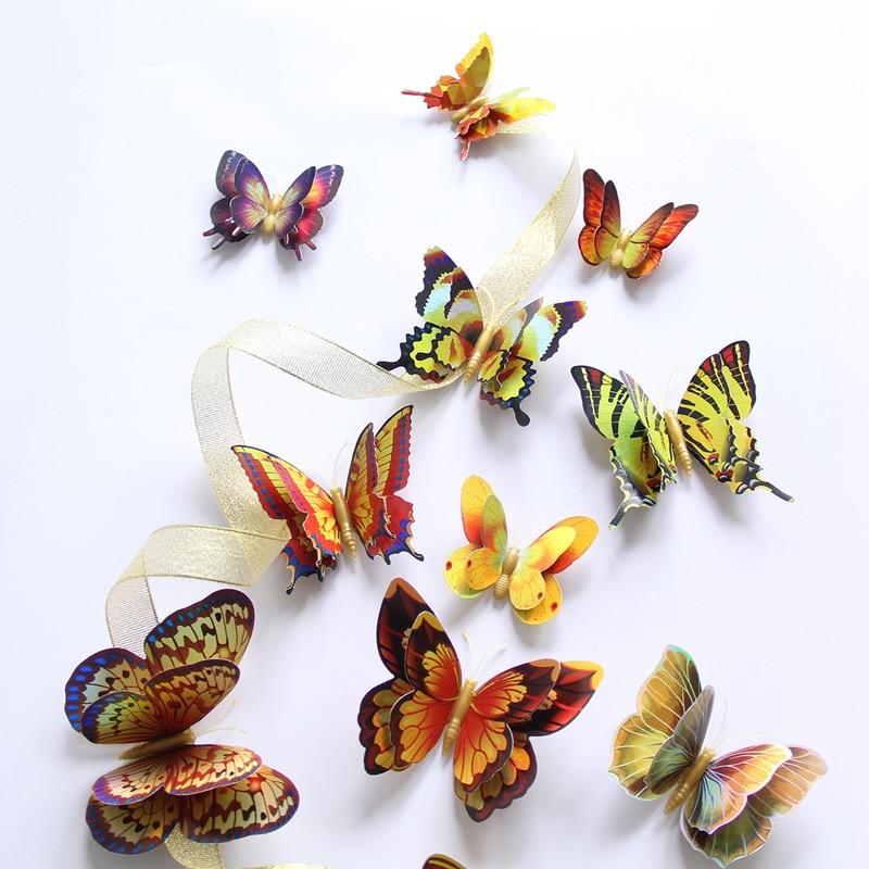 12 Uds 3D efecto especial oro/plata mariposa de doble capa pegatinas de pared decoración del hogar mariposas imán pegatinas de nevera PVC