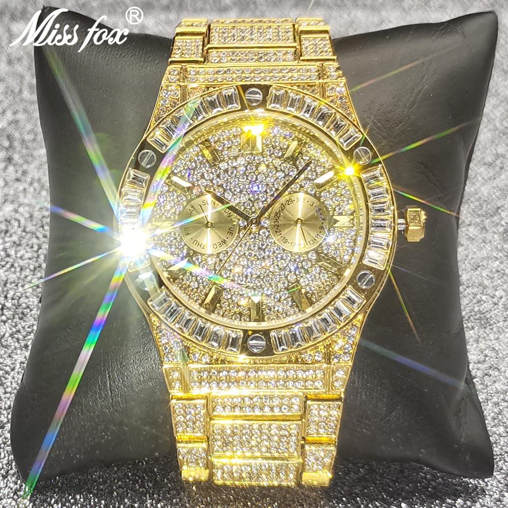 18K الذهب الرجال ساعة MISSFOX مثلج خارج الرياضة الفاخرة نمط مزدوج الهاتفي كرونوغراف الساعات الصلب مقاوم للماء ساعة للرجال مجوهرات