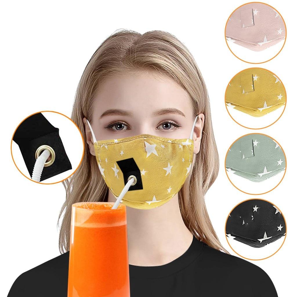 Máscara para adultos con agujero para Mascarillas de paja, lavable, reutilizable, máscara facial, estrella, Halloween, Cosplay para mujeres, a prueba de viento, Cubrebocas