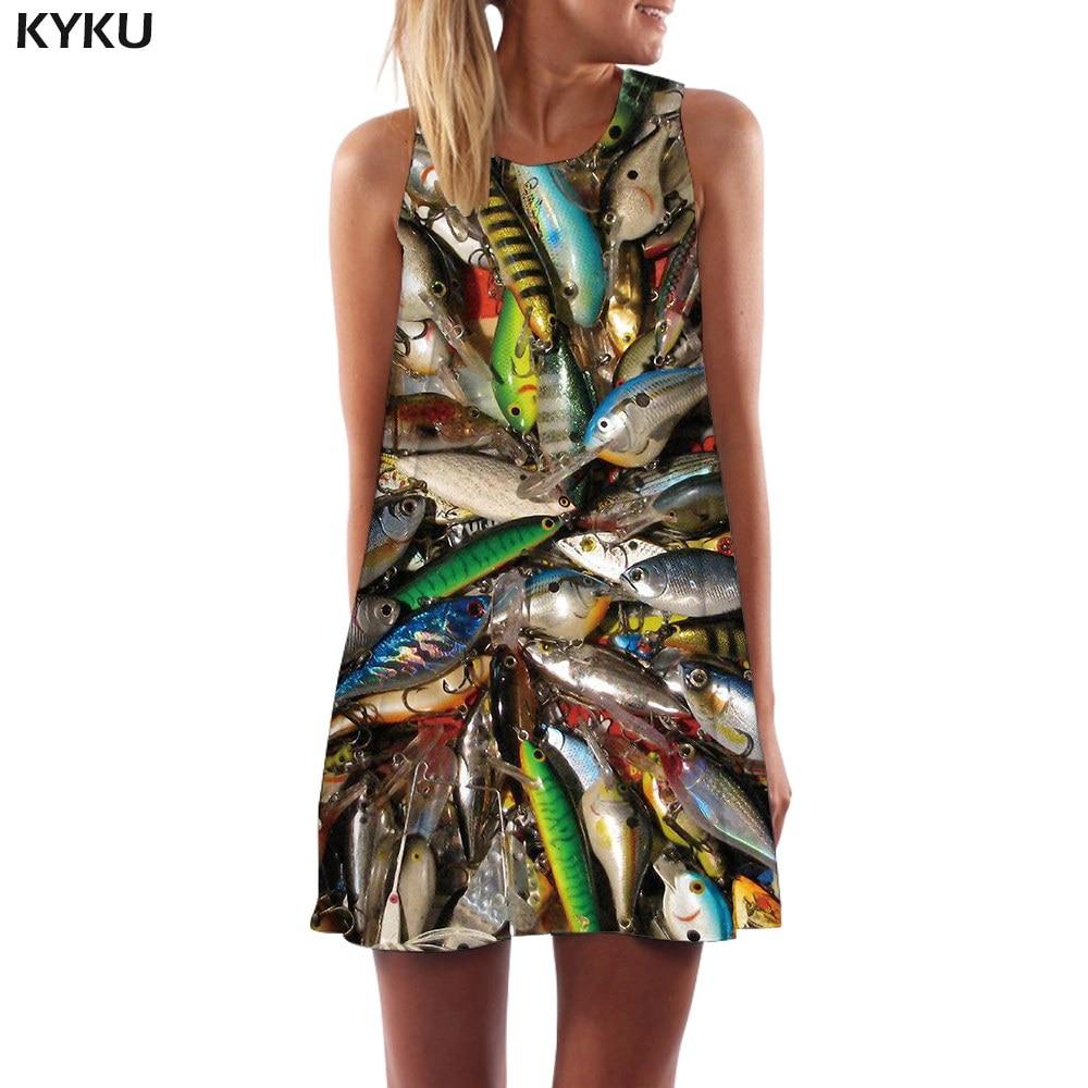 KYKU Brand Fish Dress Women Animal Office Squid Beach Tropical Boho Fishinger Ladies Dresses Womens Clothing Vintage