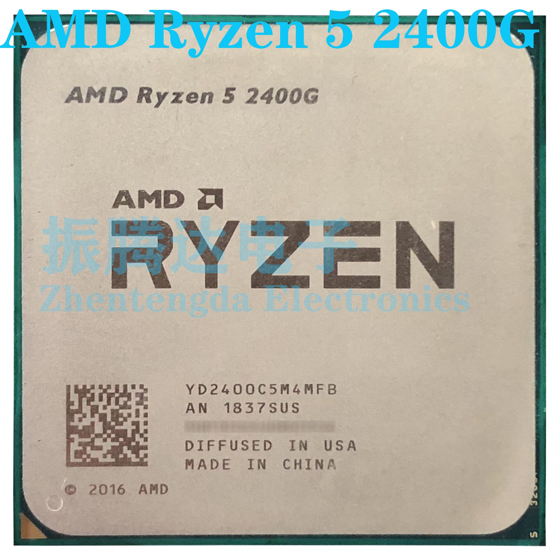AMD Ryzen 5 2400G وحدة المعالجة المركزية 3.6GHz 4MB 4 النواة 8 موضوع المقبس AM4 R5-2400G معالج وحدة المعالجة المركزية
