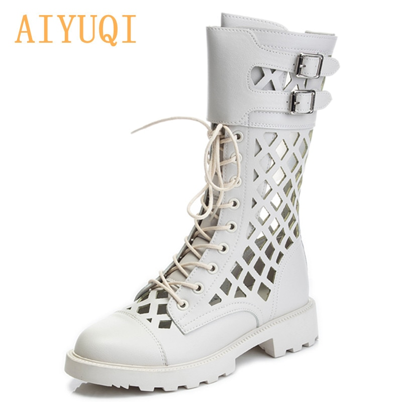 AIYUQI Women's Summer Shoes Boots Hollow Fashion Large Size Martin Boots Ladies Mesh New Mid-heel Cool Boots For Women
