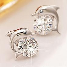 Fashion Romantic Dolphin Love Stud Earrings for Women High Quality Jewelry Silver Plated Round Cut f