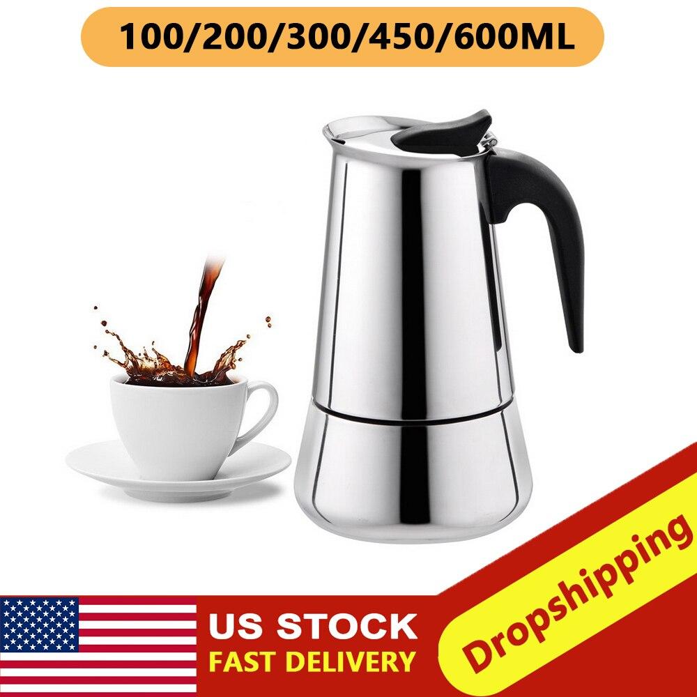Tetera de acero inoxidable, cafetera, tetera portátil para café expreso, cafetera Moka Pro Barista 100ml/200ml/300ml/450ml #1