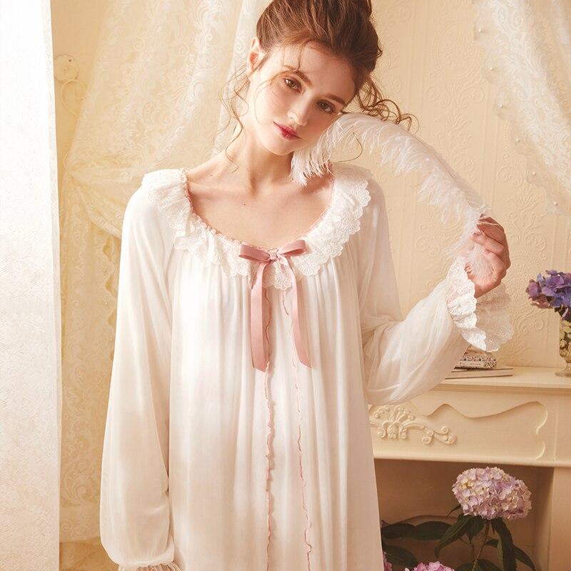 ثوب النوم الرجعية الدانتيل ملابس خاصة أنيقة ثوب النوم الخريف طويلة الأكمام فستان طويل ثوب جميل