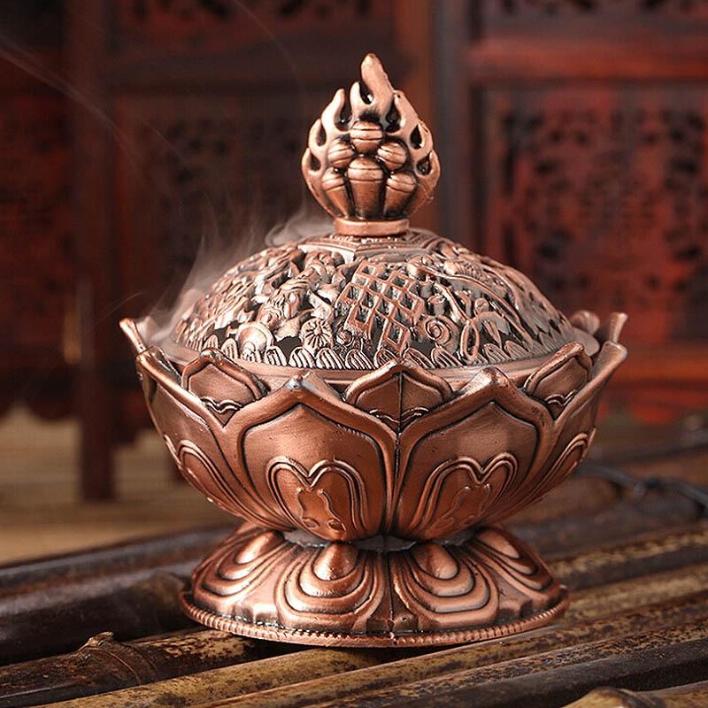 Nuevo quemador de incienso de Buda de aleación de 7*7cm estilo chino, incensario con forma de flor de loto para la decoración de la sala de estar del hogar