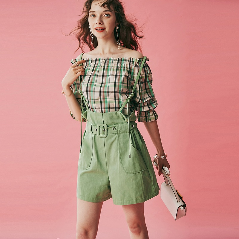 fashion summer One neck off shoulder Plaid Top shirts butter green belt pants two pieces  set Slash Sashes