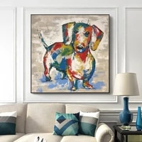 dachshund dog canvas paintings abstract dog wall art poster and print graffiti art animal wall paintings for kids room cuadros