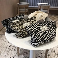 leopard cloth makeup female toiletry organizer for handbag women canvas cosmetic zipper fashion phone storage bag 2021 luxury
