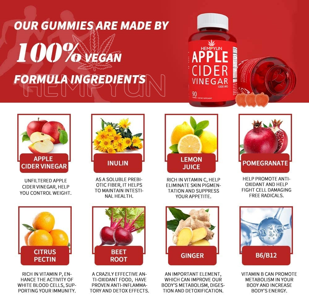 Natural Health Apple Cider Vinegar Gummies For Detoxify the Body and Weight Loss Gummies