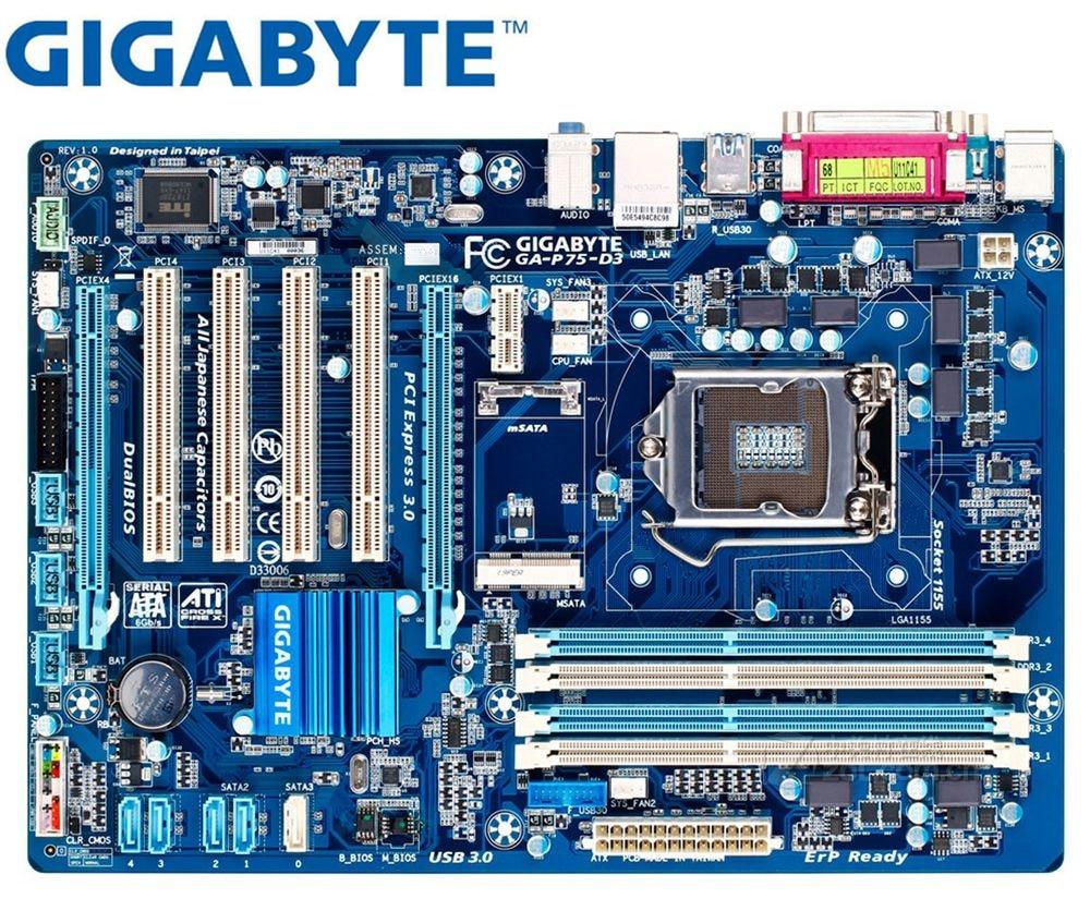 Gigabyt motherboard LGA 1155 DDR3 GA-P75-D3 original USB2.0 USB3.0 SATA3 P75-D3 32GB B75 Desktop Motherboard