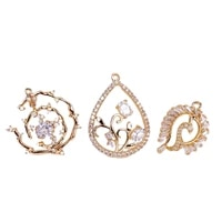 kc gold color plated rhinestone eardrop pendant charms necklace accessories jewelry component diy material 2pcs kp3360